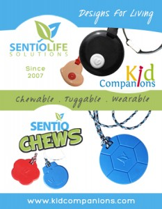 SentioCHEWS  and KidCompanions Chewelry two chew necklaces designed by SentioLIFE Solutions, made in Canada, and sold on line at www.kidcompanions.com