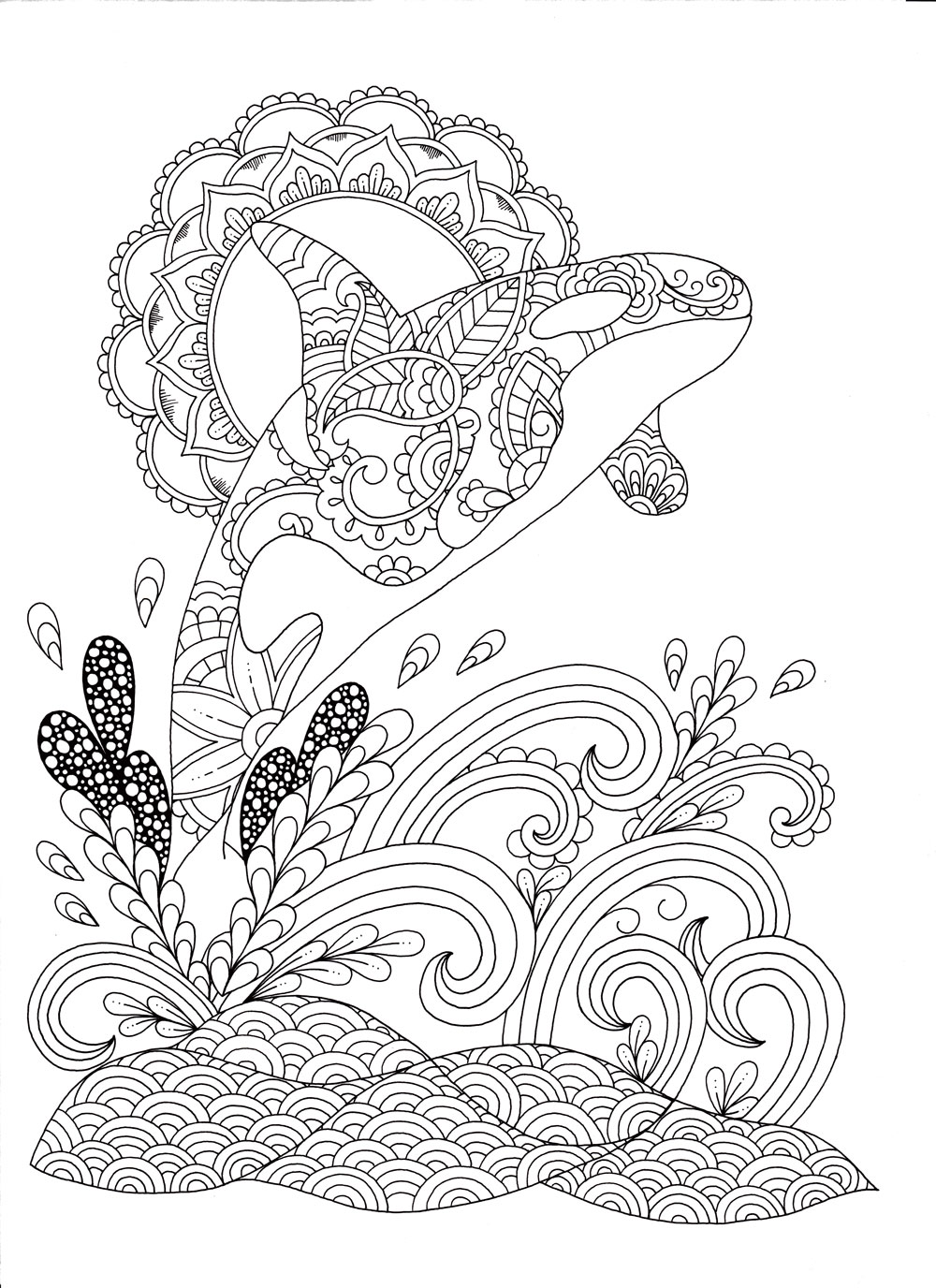 Stress relieving coloring - Ocean Coloring Page Exotic Animal Designs Stress Relieving Adult Coloring Book By