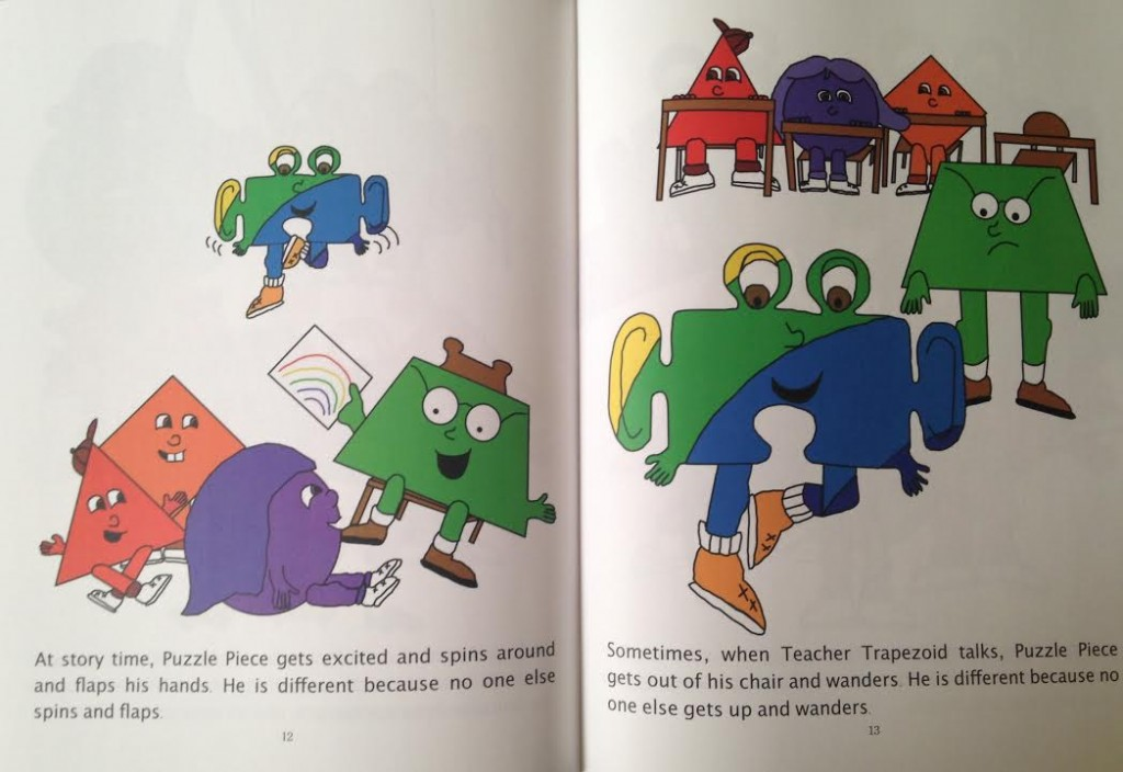 pages from Autism Book for Kids - Puzzle Piece Goes to Rainbow School by Tanis and Allison Frohriep