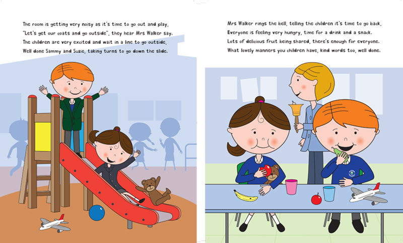 A page from the Suzie Book Series for Autistic Kids - Suzie Goes to School by Charlotte Olson