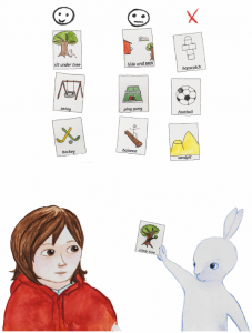 Another page from Robin and the White Rabbit: A Story to Help Children with Autism to Talk about their Feelings and Join In by Emma Lindström and Åse Brunnström