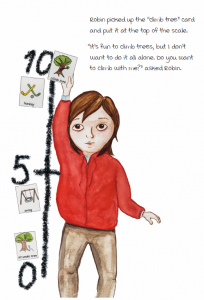 Page from Robin and the White Rabbit: A Story to Help Children with Autism to Talk about their Feelings and Join In by Emma Lindström and Åse Brunnström