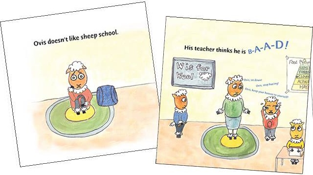 Two pages from book For Children with Sensory Challenges - Ovis Has Trouble with School by Kelly Beins